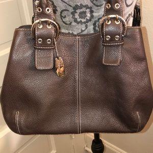 Tignanello expresso leather Shoulder Bag VGC